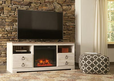 Willowton Whitewash Large TV Stand w/Fireplace Insert