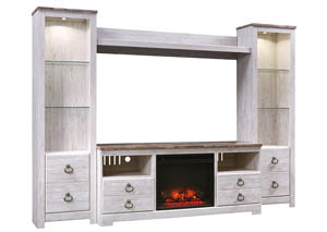 Willowton Whitewash Entertainment Center w/Fireplace Insert
