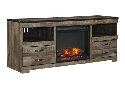 Trinell Brown Large TV Stand w/Fireplace