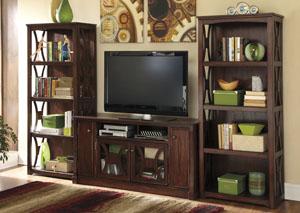 Devrik Large TV Stand w/ 2 Bookcases