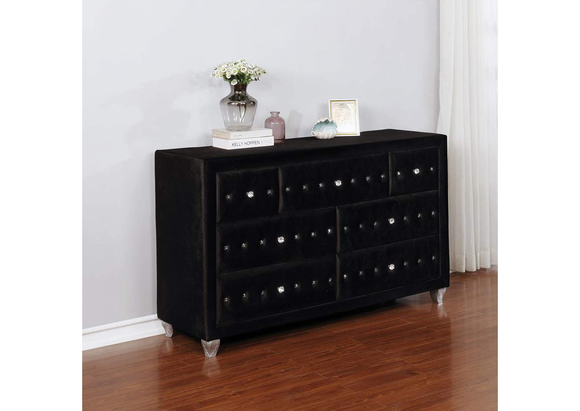 Deanna Metallic and Black Eastern King Bed,Coaster Furniture