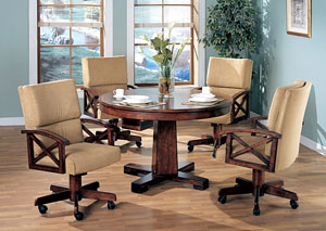 Black & Oak Convertible Dining Table w/ 4 Game Chairs