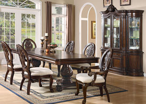Tabitha Dark Cherry Pedestal Dining Table w/4 Side Chairs, 2 Arm Chairs, Buffet & Hutch