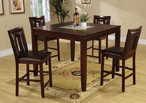 Ervin Espresso Counter Height Table w/ 4 Espresso Bar Stools