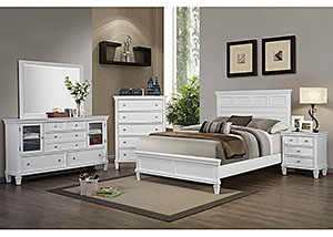 Camellia White Queen Bed, Dresser & Mirror