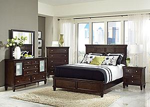 Camellia Cappuccino Queen Bed, Dresser & Mirror
