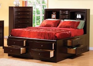 Phoenix Cappuccino King Storage Bed