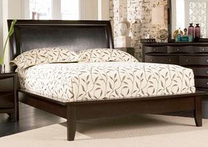 Phoenix Cappuccino Platform Queen Bed, Dresser & Mirror