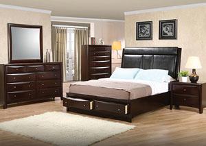 Phoenix Black & Cappuccino Queen Bed, Dresser & Mirror