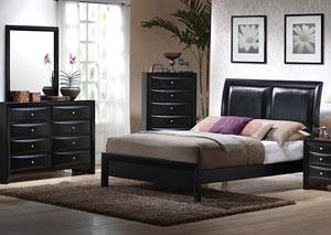Briana Black Queen Bed, Dresser & Mirror