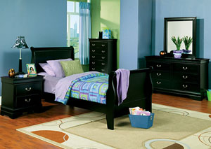 Louis Philippe Black Twin Bed, Dresser & Mirror