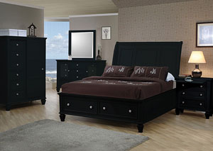 Sandy Beach Black Queen Bed, Dresser & Mirror