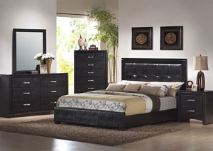 Dylan Black Queen Bed, Dresser & Mirror