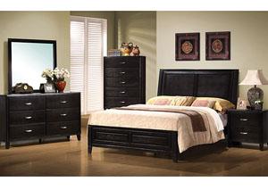 Nacey Dark Walnut Queen Bed, Dresser & Mirror