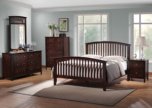 Tia Cappuccino Queen Bed, Dresser, Mirror, Chest & Night Stand