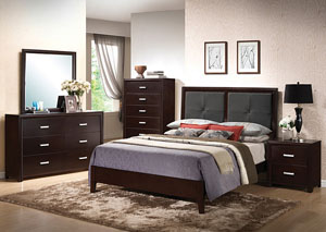 Andreas Black Queen Bed, Dresser & Mirror