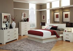 Jessica White Queen Bed, Dresser & Mirror