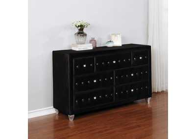 Deanna Metallic and Black California King Bed w/Dresser & Mirror