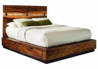 Smokey Walnut Queen Platform Bed