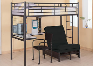 Bunk Bed w/ Desk, Chair & Futon