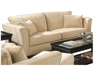 Park Place Cream & Cappuccino Durable Colored Velvet Sofa