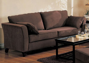Park Place Chocolate Microfiber Fabric Sofa