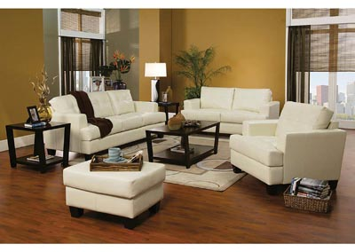 Samuel Cream Bonded Leather Chair