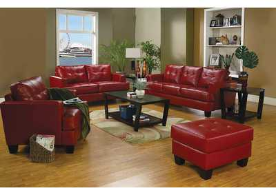 Samuel Red Bonded Leather Love Seat