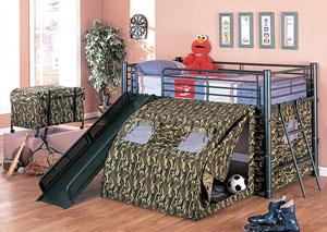Twin Bunkbed w/ Slide & Tent