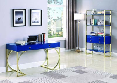 Glossy Blue/Brass Bookcase