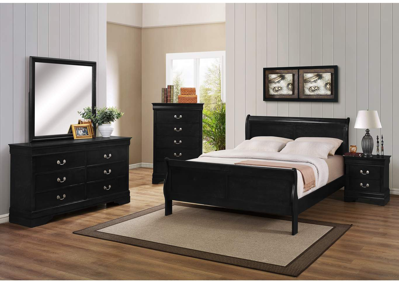 Orleans Furniture Louis Philip Black Twin Bed W6 Drawer Dresser