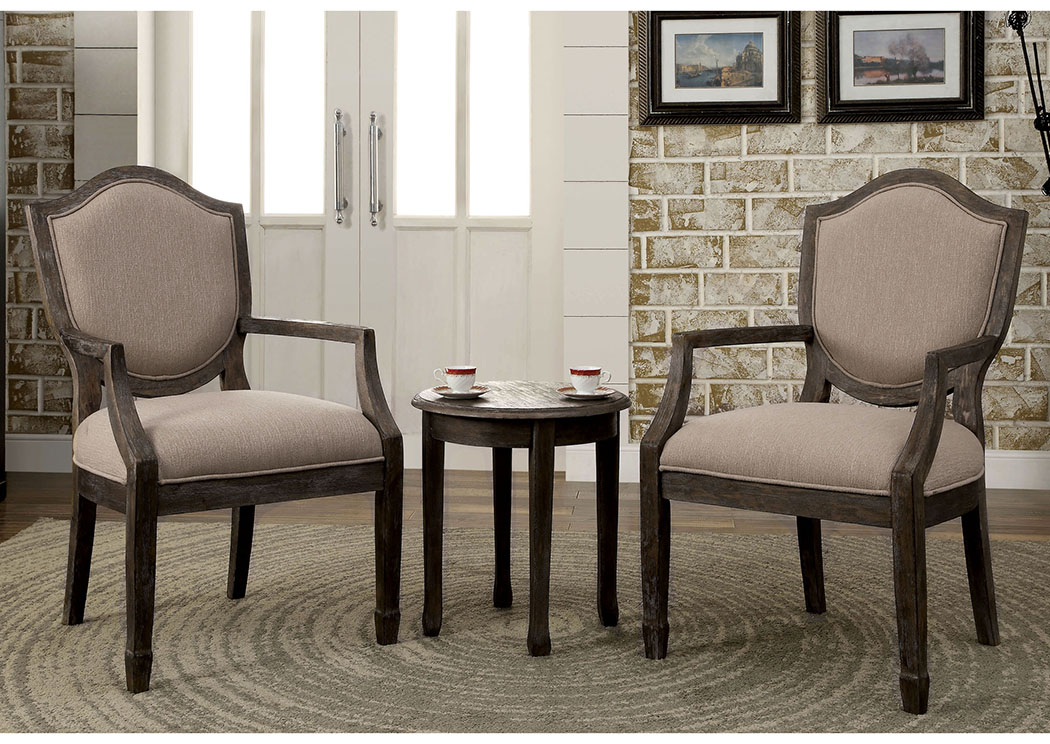Acfold ll 3 Piece Gray Accent Table & Chair Set,Furniture of America