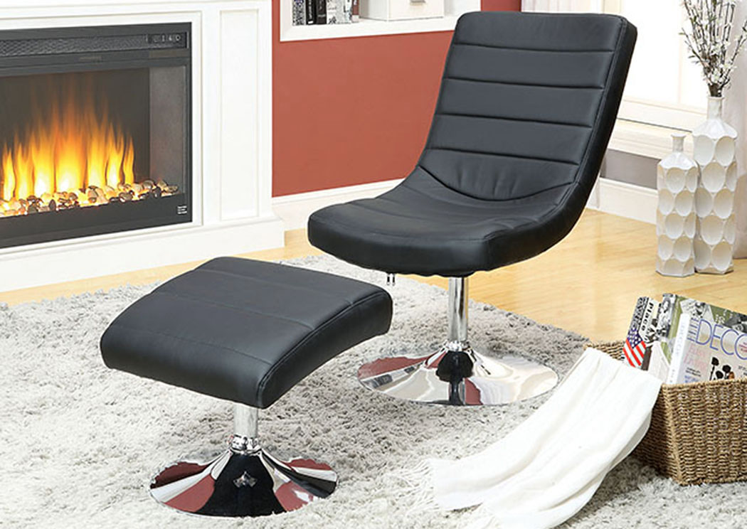 Valerie Black Lounge Chair w/Ottoman,Furniture of America
