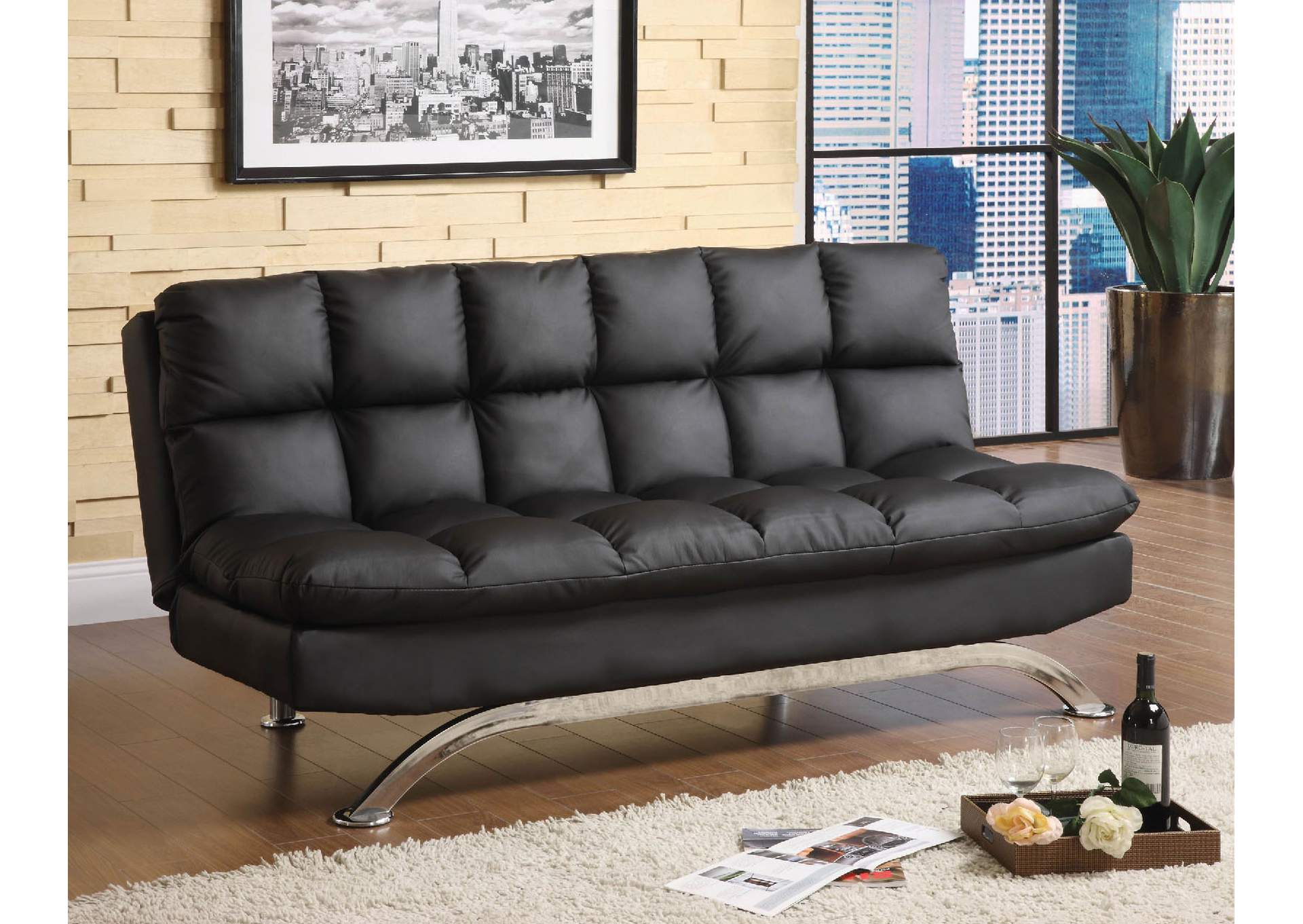 Aristo Black Futon,Furniture of America