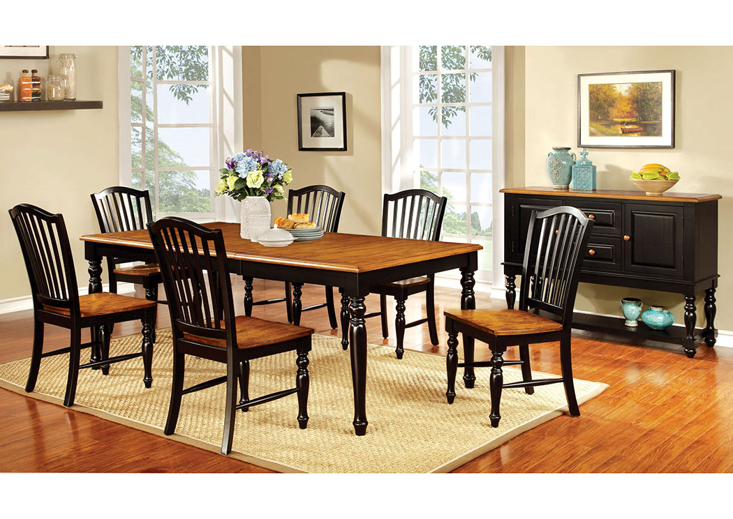 Mayville Black/Antique Oak Extension Dining Table w/6 Side Chairs,Furniture of America