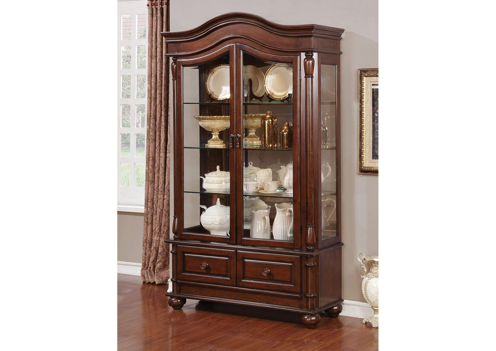Sylvana Brown Cherry Hutch U0026 Buffet,Furniture Of America