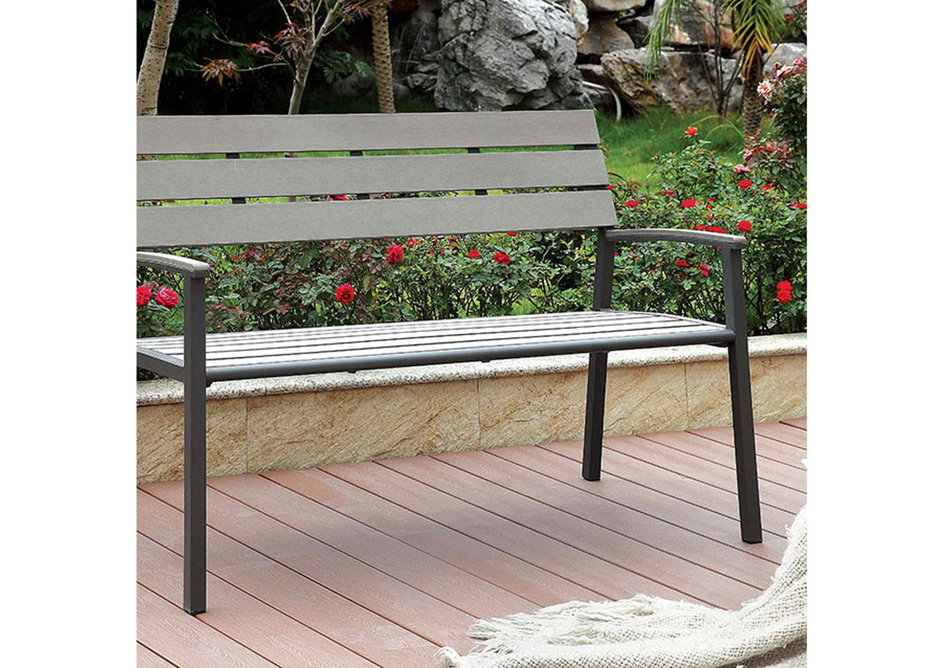 Isha Oak Outdoor Bench,Furniture of America