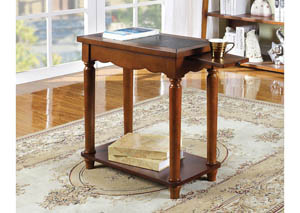 Prasi Leatherette-Insert Top Side Table w/Pull-Out Tray