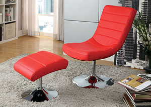 Valerie Red Lounge Chair w/Ottoman