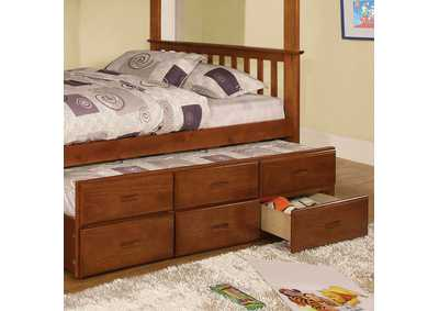 University Oak Twin Trundle w/3 Drawers