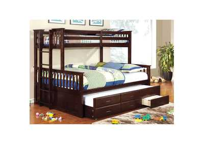 University Dark Walnut Twin XL Trundle w/3 Drawers