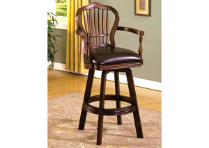 Fife Antique Walnut Cello-Back Barstool w/Padded Seat