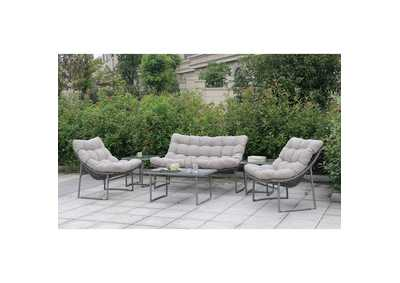 Amya Gray Patio Set (Loveseat, 2 Chairs, Coffee Table & 2 End Tables)