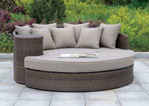Calio Brown Round Patio Sofa & Ottoman