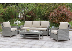 Hysham Gray/Beige 6 PC. Patio Set w/Coffee Table & 2 End Tables