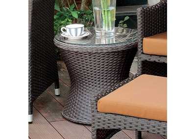 Almada Espresso Round Side Table w/Glass Top