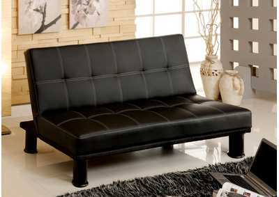 Quinn Black Leatherette Futon Sofa