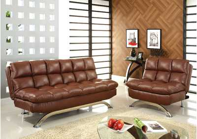 Aristo Saddle Brown Futon Sofa