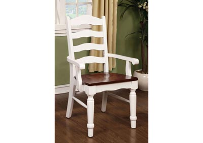 Palisade White & Cherry Arm Chair (Set of 2)