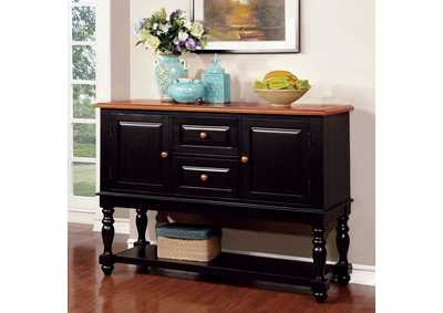 Mayville Black/Antique Oak Server w/Storage